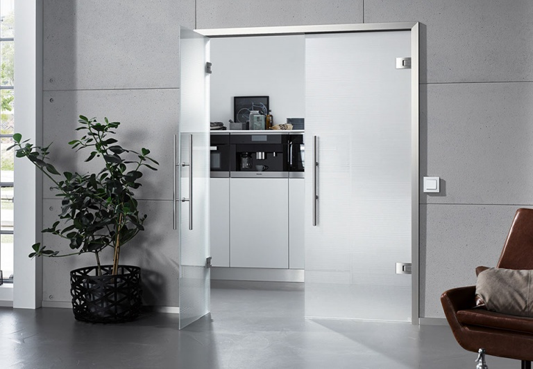 Modern glass doors with aluminium frame