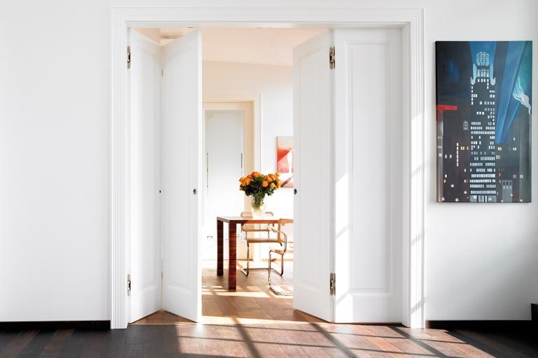 White internal folding doors