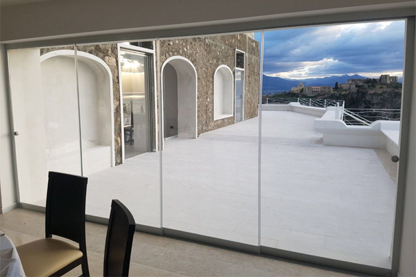 telescopic glass sliding door
